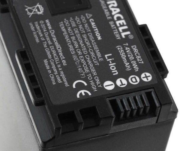 Μπαταρία βιντεοκάμερας Duracell  DRC827  Canon type BP-827  7.4V 2550mAh Li-ion  C0827-DB/ DRC827  (C0827-DB)
